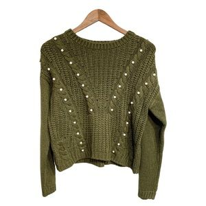 BONGO Olive Knit Sweater w/ Pearl Detail Size Med
